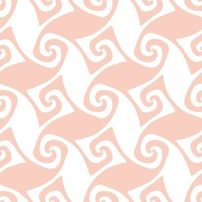 spiral trellis in peach and white