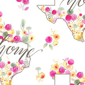 17-09C LARGE Texas Southern home watercolor watercolour floral_Miss Chiff Designs