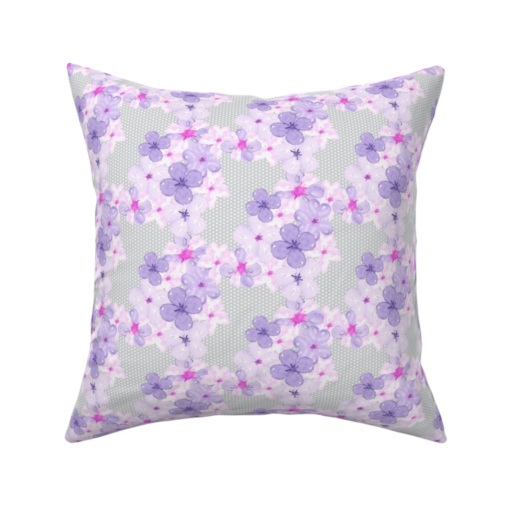 Catalan Throw Pillow featuring Watercolor Flower || pansy violet pink purple floral botanical textured  gray grey _ Miss Chiff Designs by misschiffdesigns