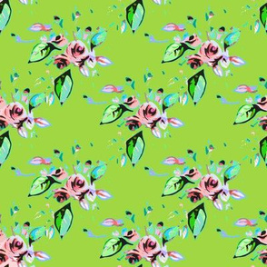 Roses in pink with green background