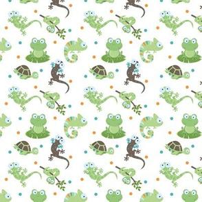 Reptile Mix Up / cute reptile fabric