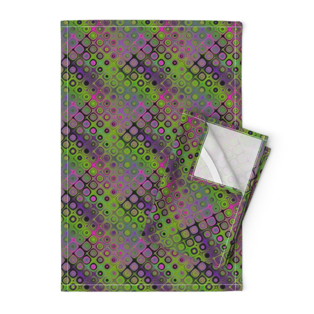 Orpington Tea Towels featuring DIAGONAL PEBBLE  LAVA LAMP PSYCHEDELIC FEVER GREEN LIME VIOLET FUCHSIA PINK  by paysmage