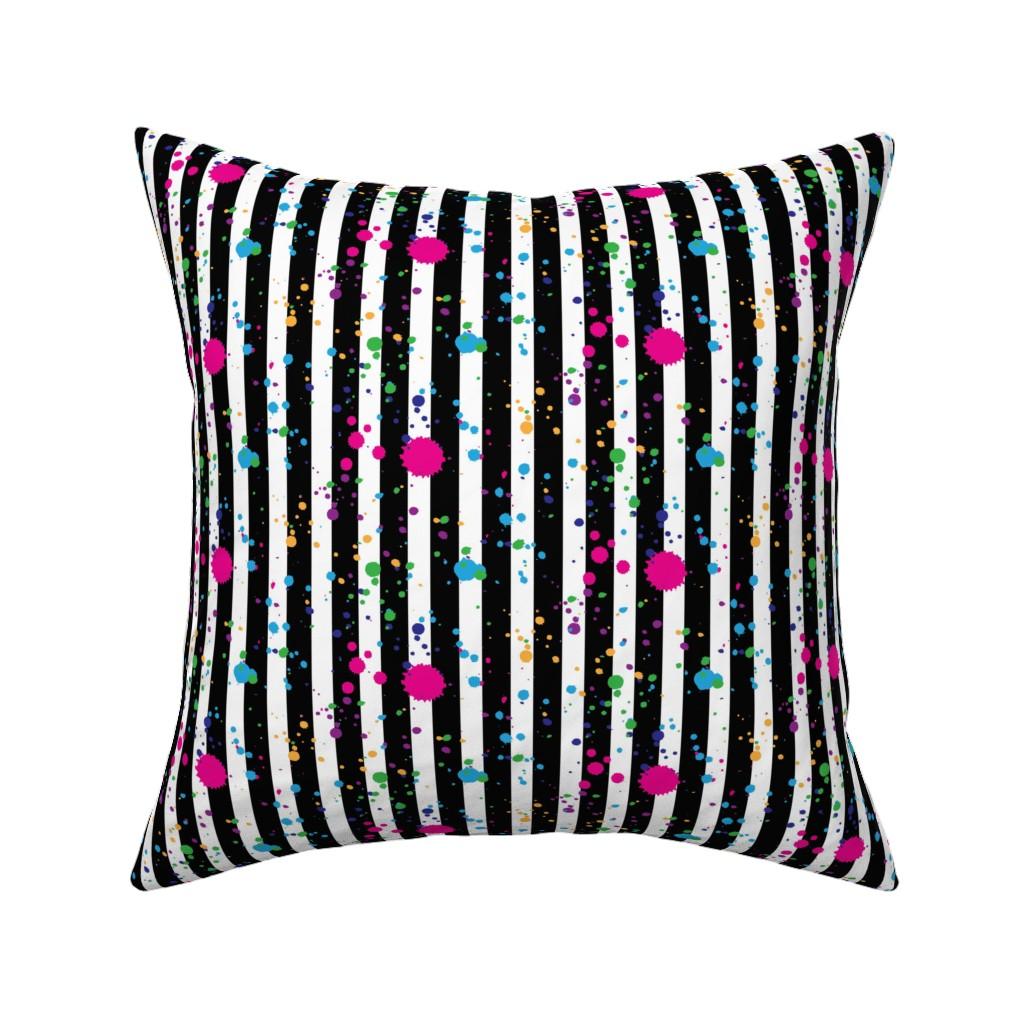 Catalan Throw Pillow featuring Stripes & Splatter - Neon Rainbow - Small Scale by hilarycaroline