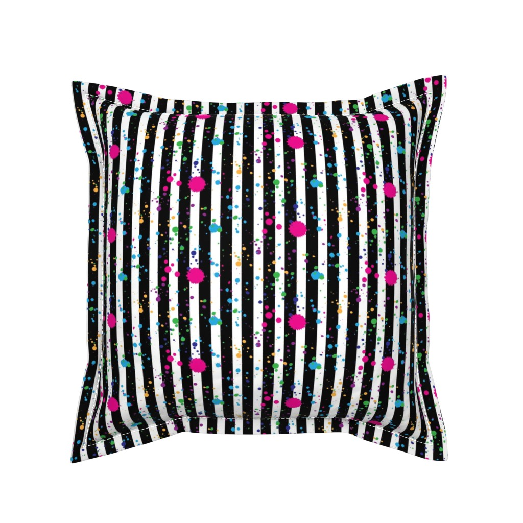 Serama Throw Pillow featuring Stripes & Splatter - Neon Rainbow - Small Scale by hilarycaroline