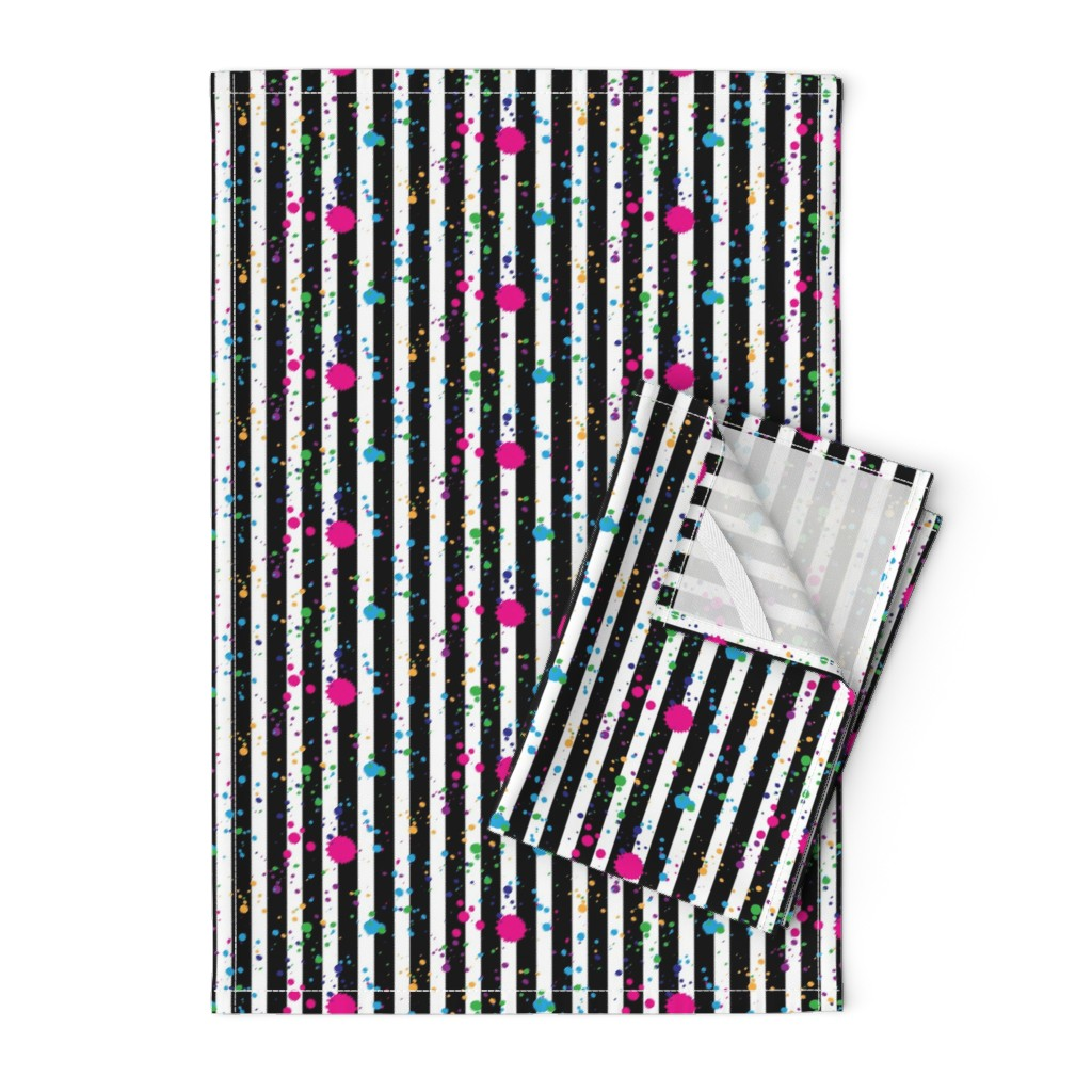 Orpington Tea Towels featuring Stripes & Splatter - Neon Rainbow - Small Scale by hilarycaroline