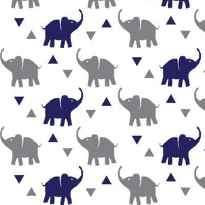 Elephants & Triangles - White Navy Gray - Small Scale