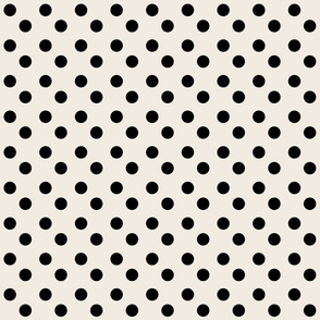 polka dots MEDIUM 2x2  - cream  black