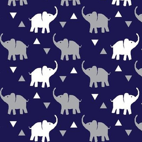 Elephants & Triangles - Navy Gray White - Small Scale