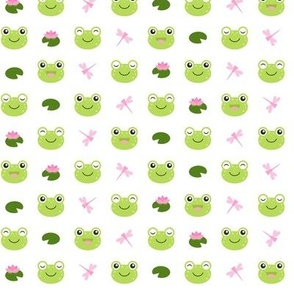 Cute Frog Faces on White