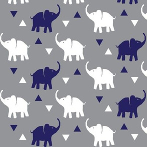Elephants & Triangles - Gray White Navy Blue - Small Scale