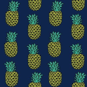 pineapple fabric // pineapples fruit fruits summer tropical design by andrea lauren - navy