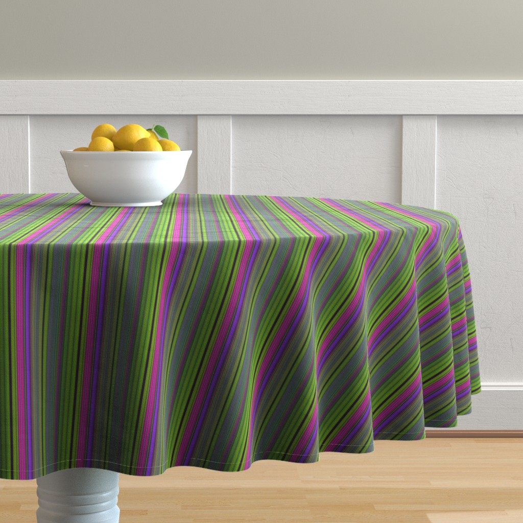 Malay Round Tablecloth featuring LAVA LAMP GREEN LIME VIOLET FUCHSIA PINK STRIPES PSYCHEDELIC FEVER by paysmage
