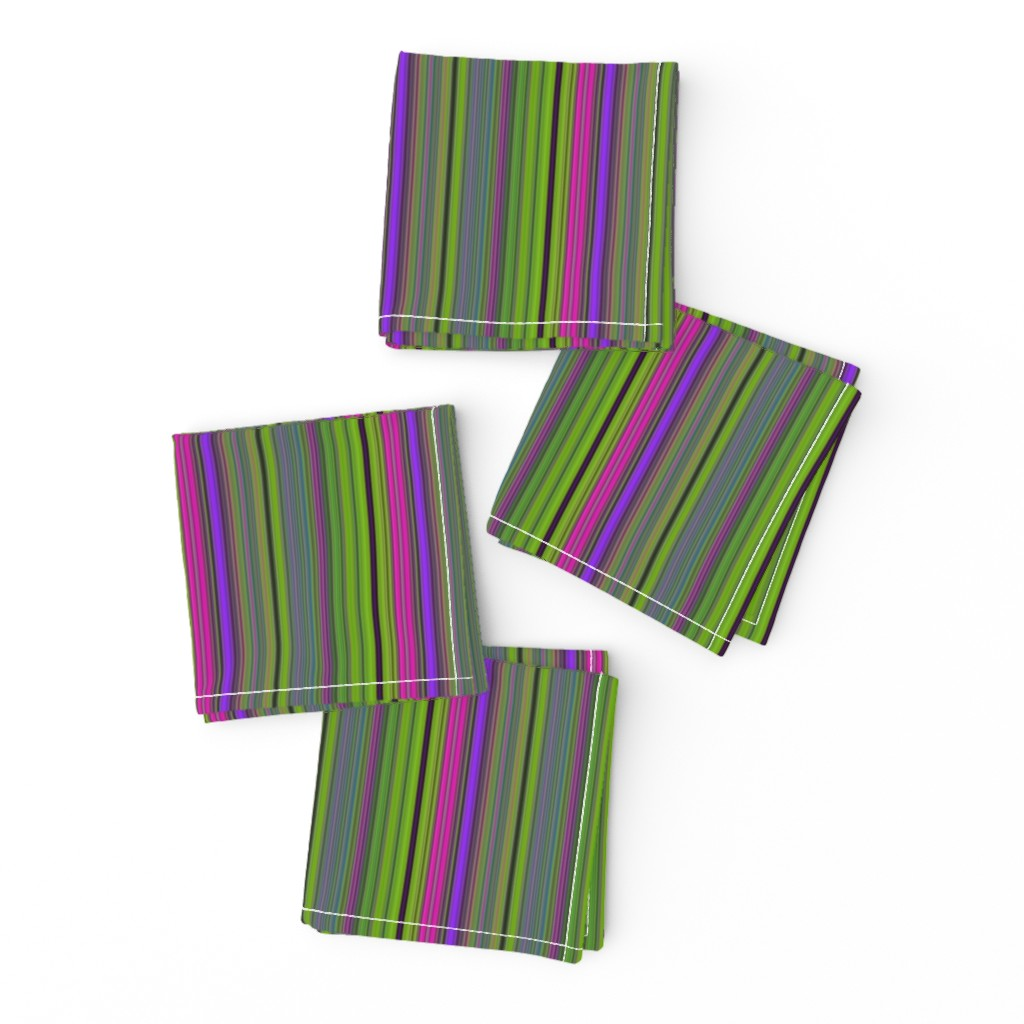 Frizzle Cocktail Napkins featuring LAVA LAMP GREEN LIME VIOLET FUCHSIA PINK STRIPES PSYCHEDELIC FEVER by paysmage