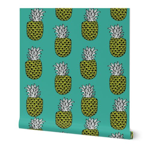 6414233 pineapple fabric  pineapples fruit fruits summer tropical design by andrea lauren   turquoise by andrea lauren