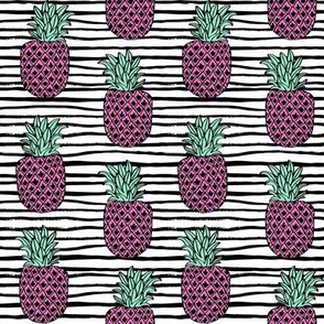 pineapple fabric // pineapples fruit fruits summer tropical design by andrea lauren - pink stripes