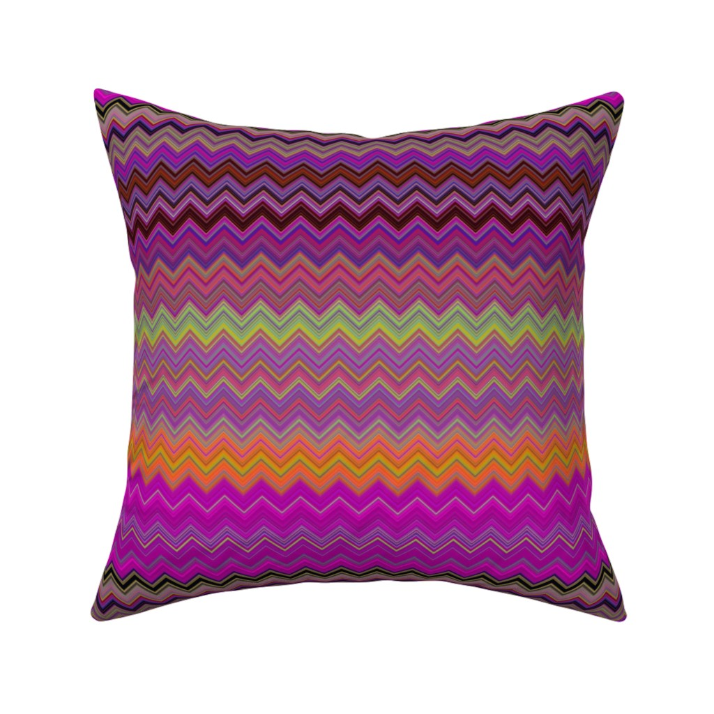 Catalan Throw Pillow featuring CHEVRON 2 LAVA LAMP PSYCHEDELIC FEVER FUCHSIA YELLOW by paysmage