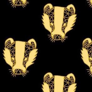Golden Geometric Badger Faces
