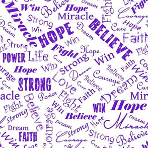 Cancer and cause Positive Words - Purples