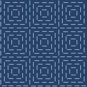XL faux sashiko squares on navy
