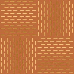 XL faux sashiko weave, gold on copper