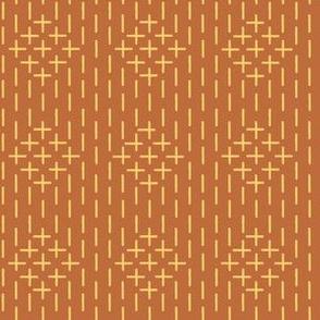 XL faux sashiko diamonds, gold on copper