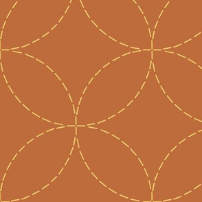 XL faux sashiko circles - gold on copper