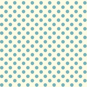 Dolly Dots Retro Blue Large Offwhite