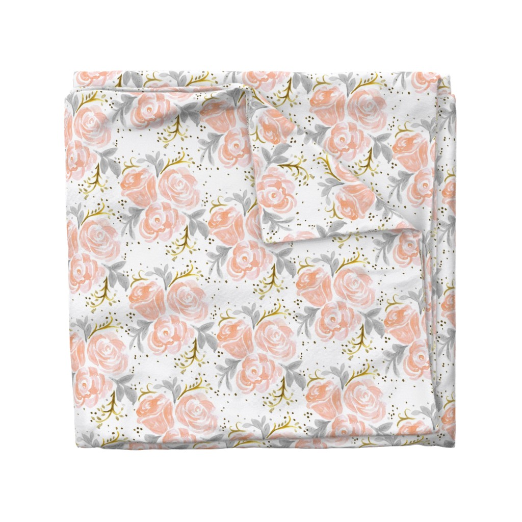 Wyandotte Duvet Cover featuring Sparkling Rosé Flora by crystal_walen