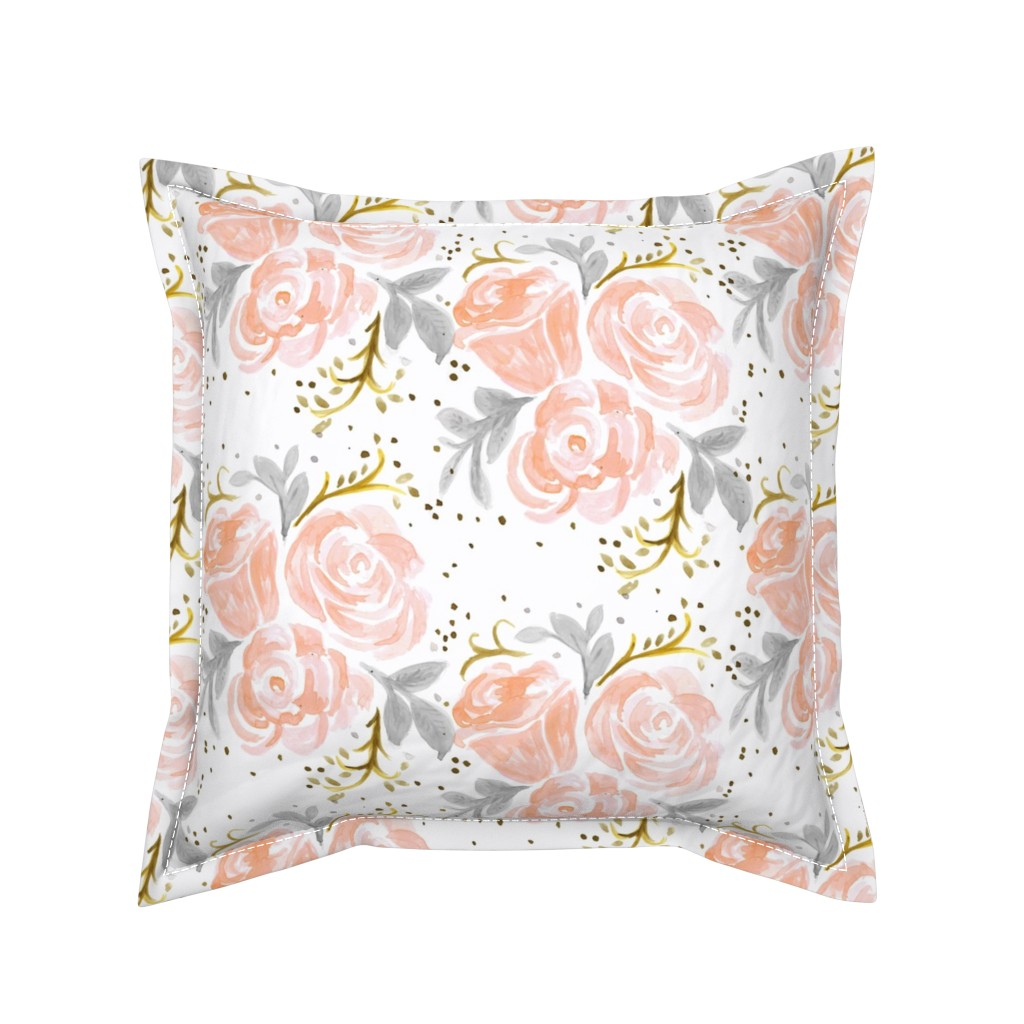 Serama Throw Pillow featuring Sparkling Rosé Flora by crystal_walen