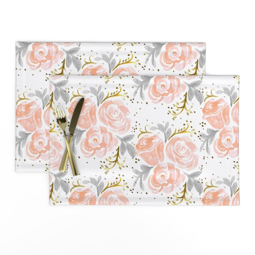Lamona Cloth Placemats featuring Sparkling Rosé Flora by crystal_walen