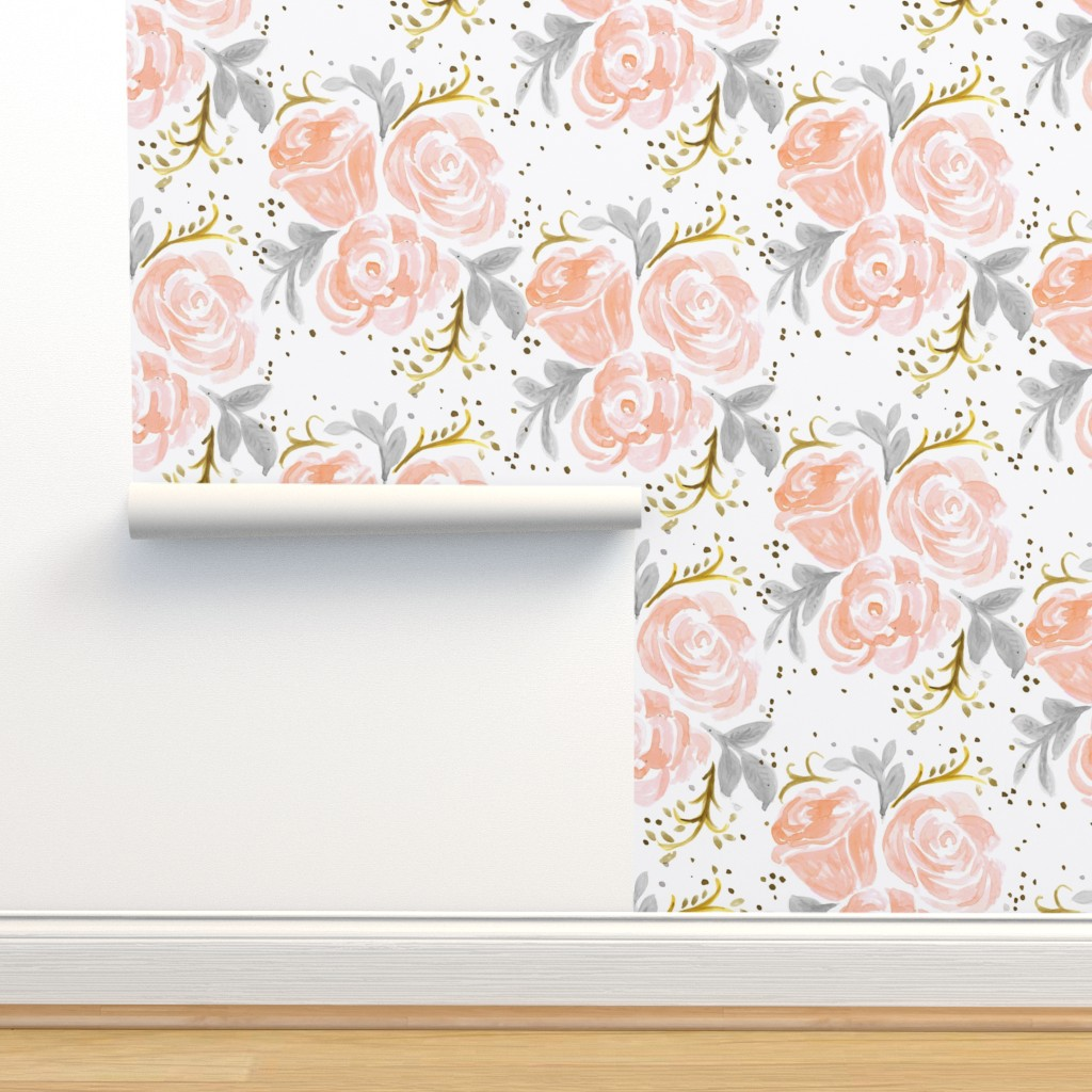 Isobar Durable Wallpaper featuring Sparkling Rosé Flora by crystal_walen