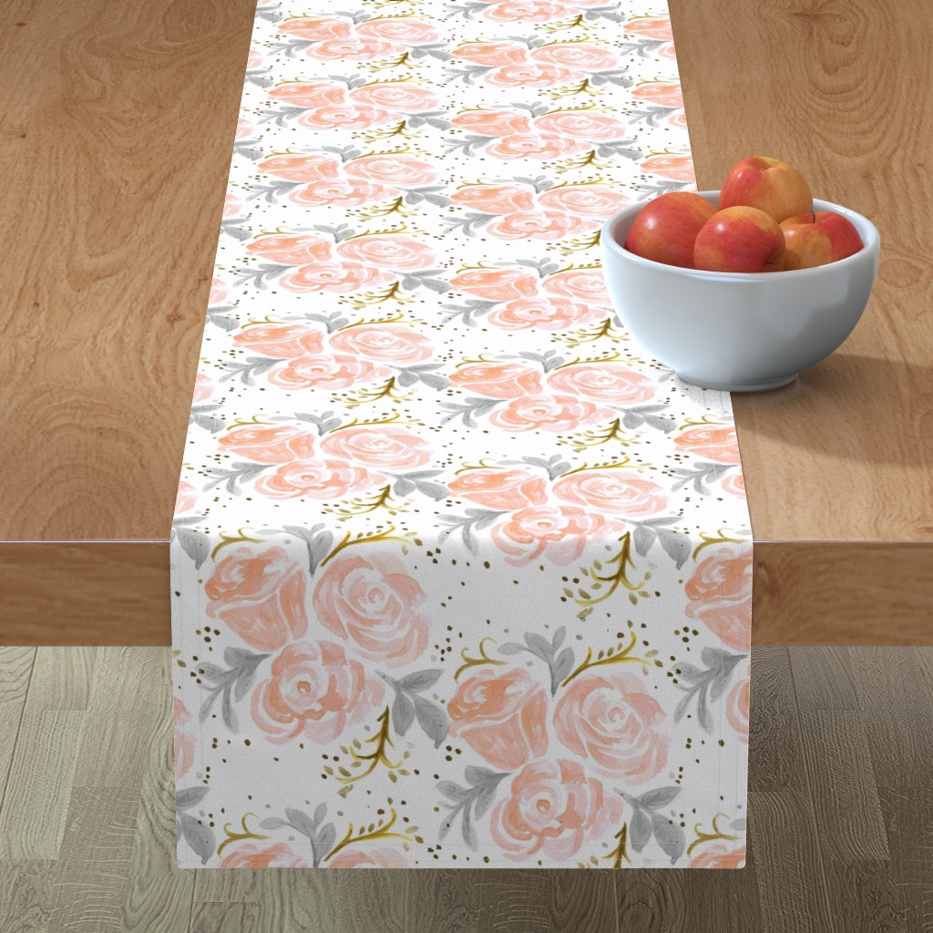 Minorca Table Runner featuring Sparkling Rosé Flora by crystal_walen