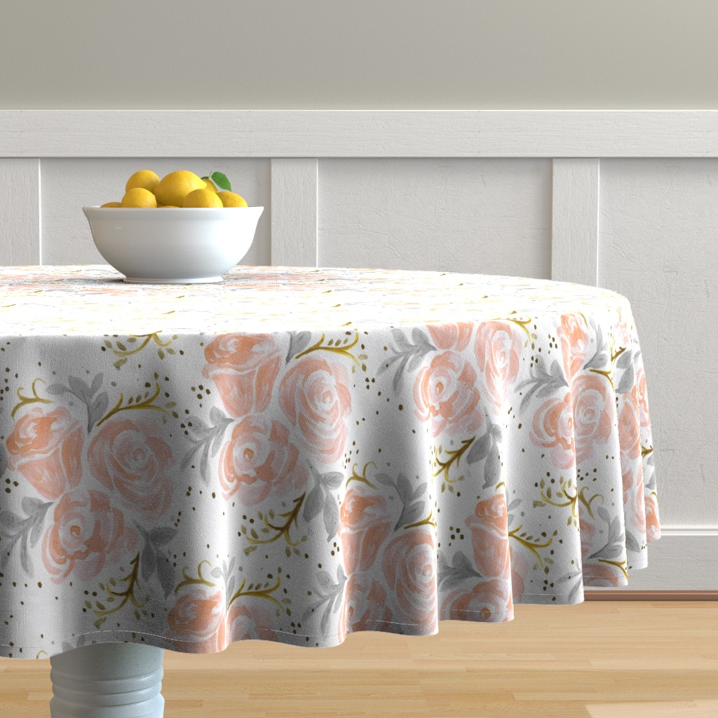 Malay Round Tablecloth featuring Sparkling Rosé Flora by crystal_walen