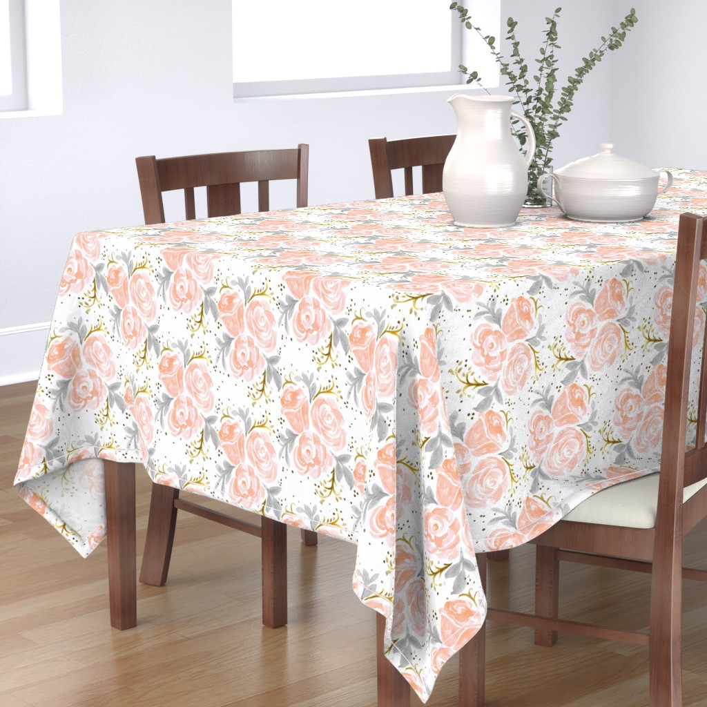 Bantam Rectangular Tablecloth featuring Sparkling Rosé Flora by crystal_walen
