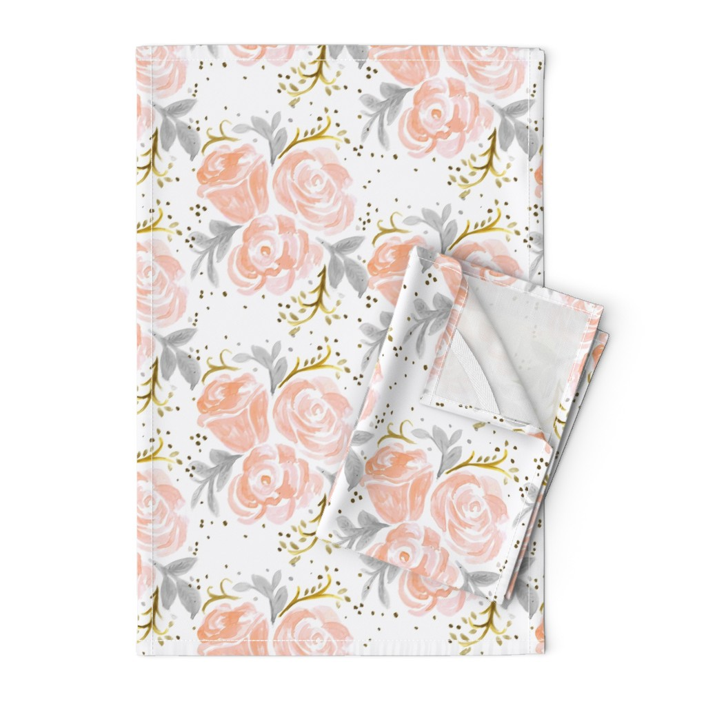 Orpington Tea Towels featuring Sparkling Rosé Flora by crystal_walen