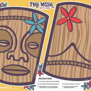 Oily Aloha - Tiki Mask - Cut & Sew - Yellow