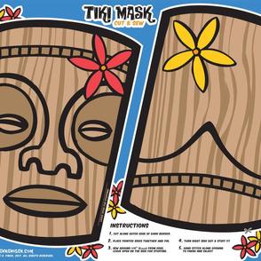 Oily Aloha - Tiki Mask - Cut & Sew - Blue