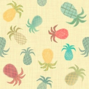 Watercolored Pineapples on Straw Linen