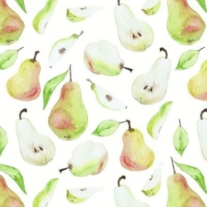 Whimsical Watercolour Pears in Off White