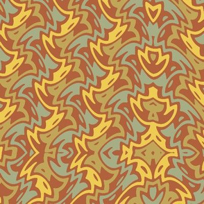 art deco zigzag in Bayeux red/gold