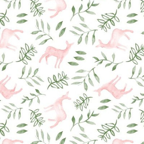 (small scale) watercolor deer - pink & green