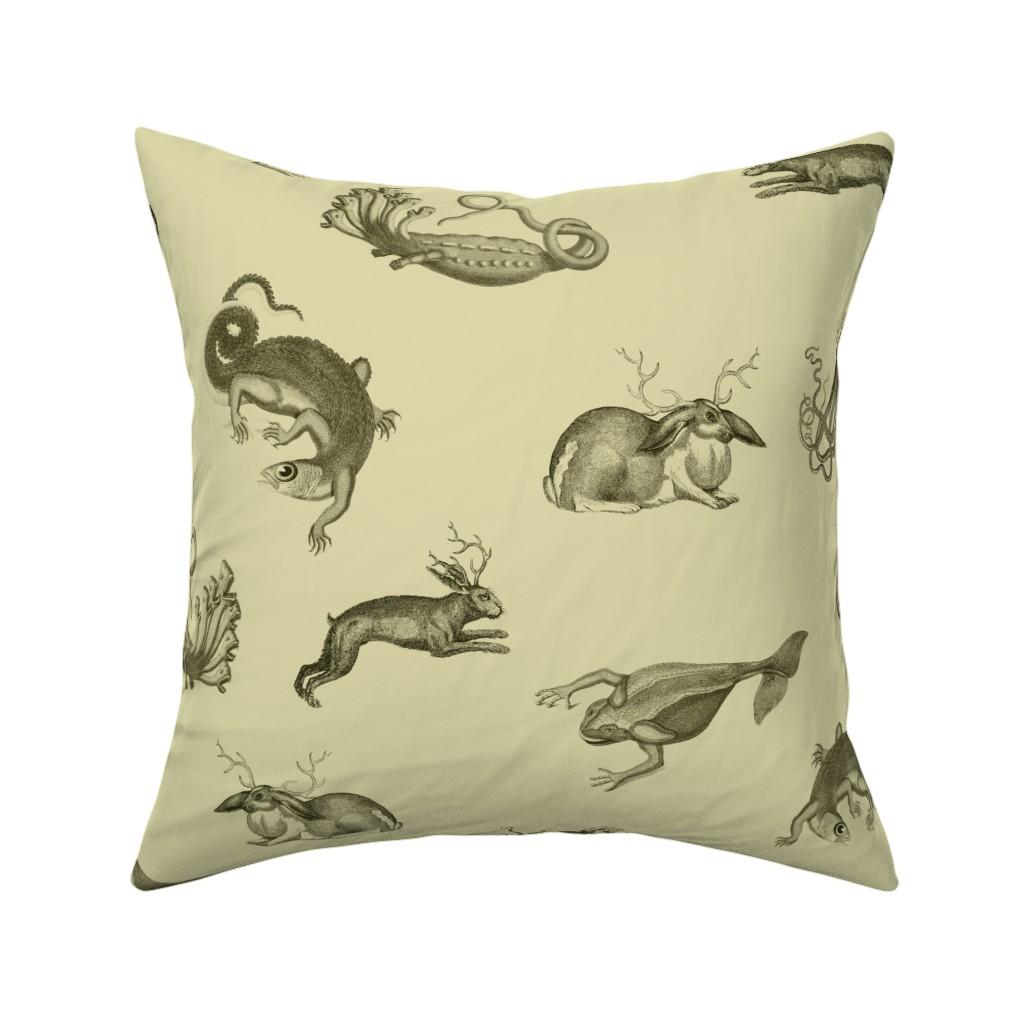 Catalan Throw Pillow featuring vintage ephemera zoo cream by ravynka