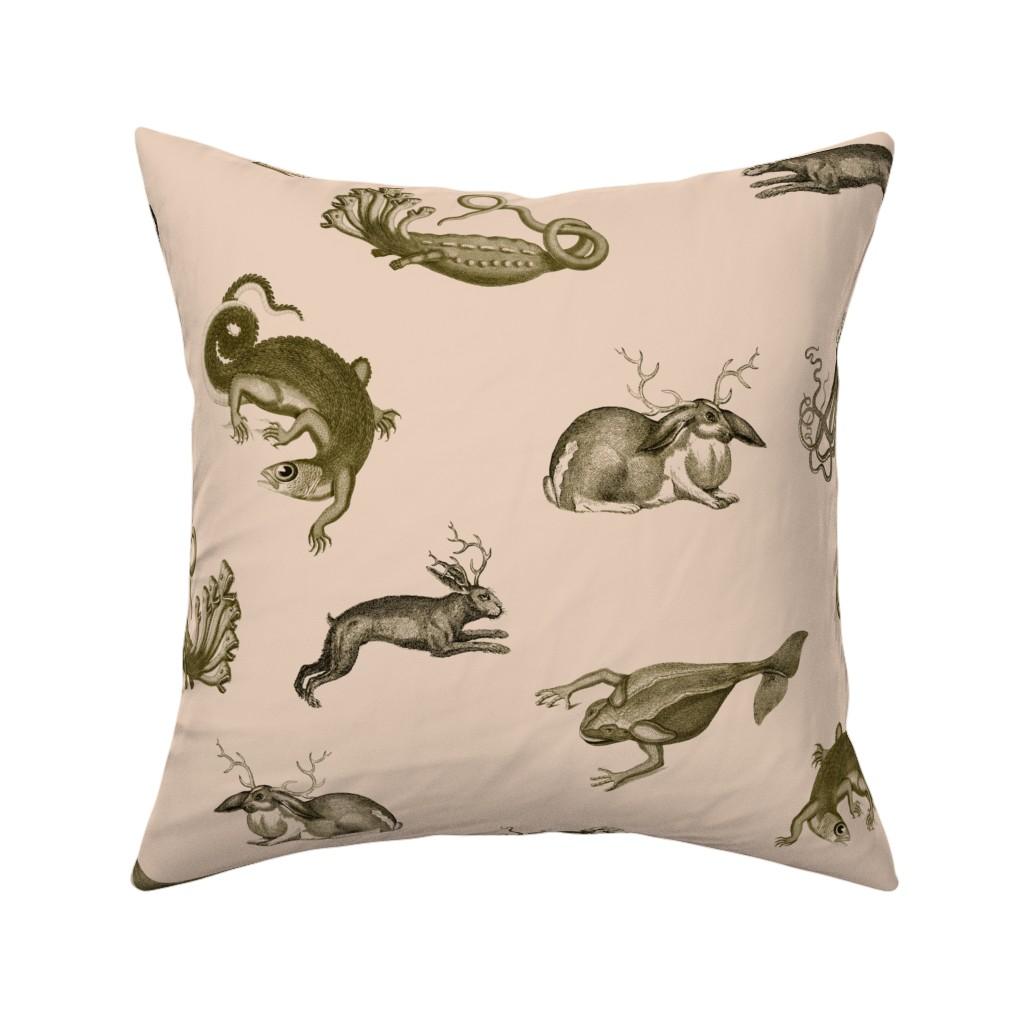 Catalan Throw Pillow featuring vintage_ephemera_zoo_pink by ravynka