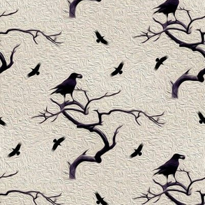 crows on creme - painted