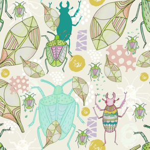 Watercolour Stag Beetles and Shield Bugs