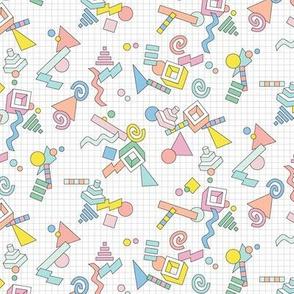 Geekometric* || 80s retro geometric math shapes 3d geek nerd graph paper grid Memphis pastel