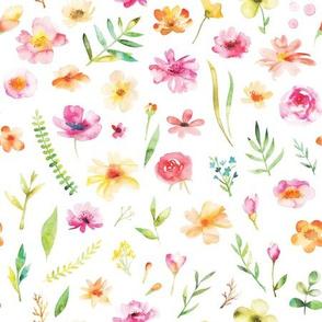 watercolor summer flowers pattern