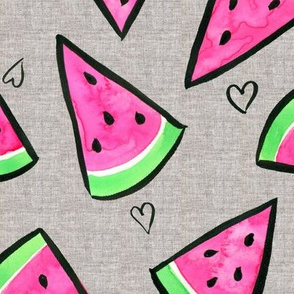 Watermelon and Hearts on Linen - larger scale