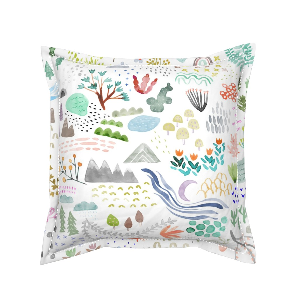 Serama Throw Pillow featuring Watercolor Field - big by katievernon