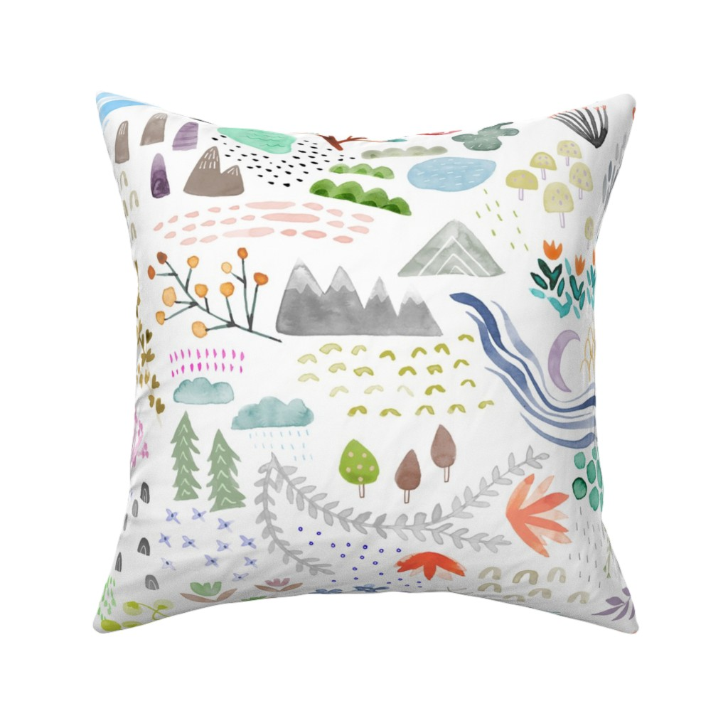 Catalan Throw Pillow featuring Watercolor Field - big by katievernon
